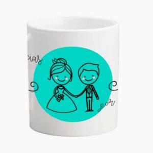 Taza para bodas decorada azul